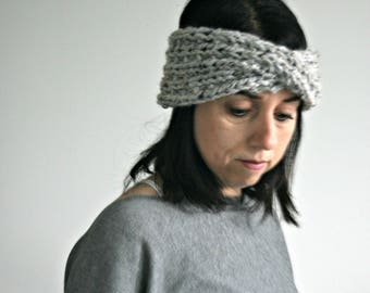 Chunky Knit Headband,Knit Earwarmer,Winter Accessory// Marbel Grey // THE TWISTON EARWARMER
