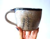 Handmade Mug, READY TO SHIP, Wheel-Thrown Pottery Mug, Cream White Glaze over speckled Brown Clay, Pine Trees