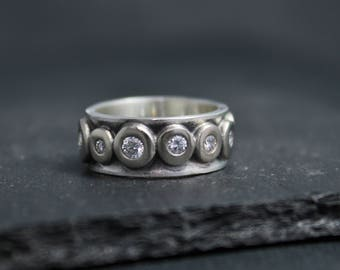 14k White Gold Diamond Eternity Band, 8mm Sterling Silver Band, Pebble Ring, Stackable Ring, Diamond Pebbles, Made to Order