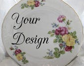 Customizable Floral Plates, Your Image, Foodsafe & Durable, Personalized Dishes, Custom China, Monogram Plates, Whole Set Available