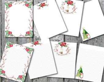 Christmas Digital Paper Stationery Holly Gnome Tree  Paper Printable Stationary Paper Writing Paper Template Note Paper