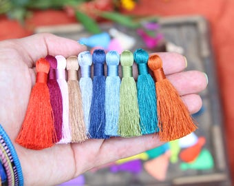 "2 Inch Silky Jewelry Tassels, SPRING Pantone Colors, Handmade Jewelry Making Mala Tassels, Quality Fashion Tassels, 2"", You Choose 3+ Colors"