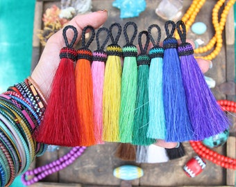 "Solid Brights NEW COLORS Large Dyed Horse Hair Tassels, Handmade, Jewelry Making Supply Boho Western Style, Choose your Color, 4.5"" 1 Tassel"