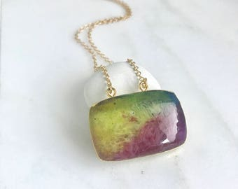 Multi-color Agate Druzy Necklace. Colorful Rectangle Necklace. Simple Crystal Geode Necklace. Multi-color Stone Necklace.