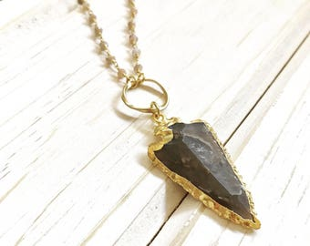 Long Boho Style Arrowhead Necklace with Gemstone Beaded Chain. Bohemian Necklace.