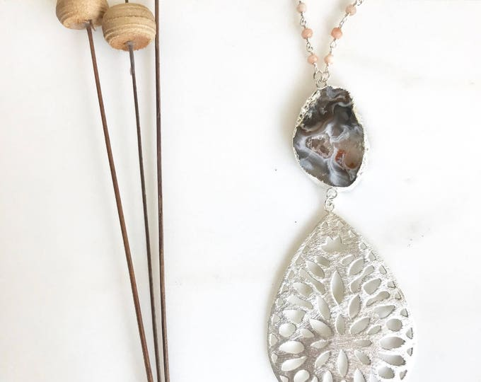 Long Boho Necklace in Silver. Grey Druzy Pendant Necklace with Gemstone Beaded Chain. Unique Jewelry Gift for Her. Quartz. Boho Necklace.