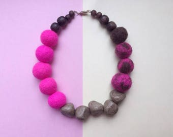 Felt bead necklace, clay necklace, wood necklace, bright pink necklace, felt jewellery, chunky necklace, quirky necklace, clay bead necklace