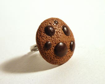 Tasty cookie - biscuit - polymer clay ring ring - chocolate cookie polymer clay ring