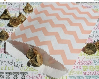 GLAMSALE 200 Coral Chevron Favor Bags, Candy Bags, Popcorn Bags, Wedding Favor Bags