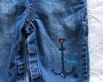 Anchor baby jean overalls  size 6-12 months. One of a kind baby overalls with matching organic cotton bodysuit