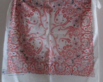 """Vintage Scarf, Red, Black and White Bandana, 100% Cotton, Made in USA RN #16429, Handcrafted with Pride, 20"""" Square, Unisex Floral Print"""
