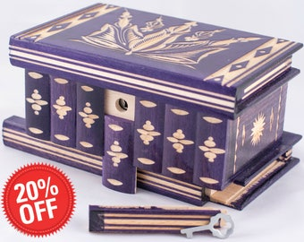 Puzzle  Box Painted Carved Jewelry Box Case Wood Comes With Key, Inside Lock (Purple)