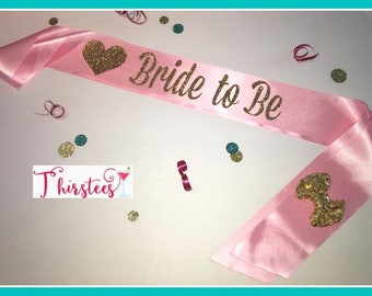 Ready 2 Ship Bride to be sash Gold Glitter Bride Sash Party Sash blush and gold bride sash bridal shower sash bachelorette party sash bridal