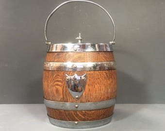 Antique Oak Cookie Jar Biscuit Barrel Ice Bucket Vase c.1920s