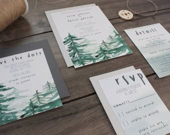 Rustic Tree Wedding Invitation // Watercolor Trees // Woodland Invitation // National Park, Forest, Outdoor Wedding // Wood Invite