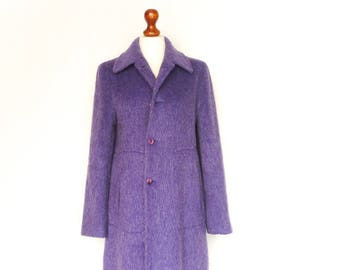 Vintage Wool Coat / Womens Coat / Violet Purple Heather / Regular Loose Fit / Fall Winter / small medium