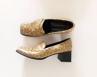 Size 8.5 / Leopard Snake Skin Heeled Loafers / Made in Italy