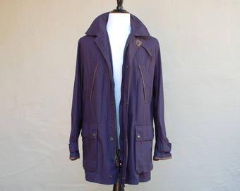 Mens Large Blue Polo Ralph Lauren Jacket Leather Trim Long Utility Jacket Coat Parka Winter Jacket Military Field Coat Designer Hipster
