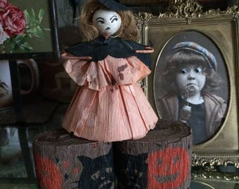 A Vintage Crepe Paper Witch That Has Stood The Test Of Time