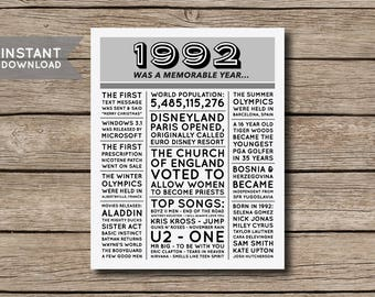 INSTANT DOWNLOAD - 25th Birthday Poster, 1992 Poster, 1992 Facts, 1992 Trivia, Newspaper Style Poster, 25th Birthday Print - Digital File