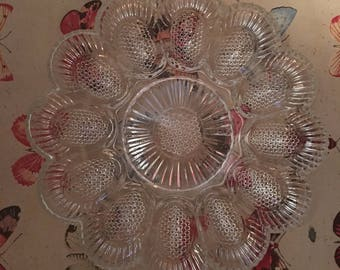 Deviled Egg Plate - Beautiful - Clear - Indiana Glass 'Thousand Eyes'