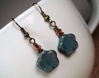 Antique Bronze Czech Glass Flower Bohemian Statement Dangle Earrings