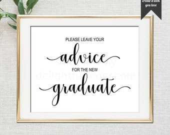 Printable Graduation Advice Sign, Party Sign, Rustic Graduation, Graduation Printable (1) JPEG File, You Print, You Frame