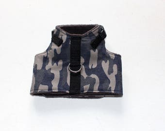 Made to order  - Italian Greyhound Harness  Antique Camo Twill Harness in Charcoal, Black and Taupe - see details - choice of lining fabric