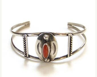 ON SALE Vintage Native American Navajo Red Coral Cuff Bracelet Sterling Silver