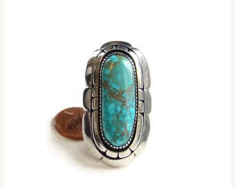 ON SALE Native American Turquoise Sterling Silver Ring Size 7.75 Heavy 26 Grams