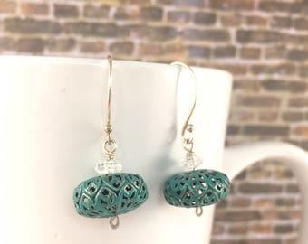 Teal Lantern Earrings, Sterling Silver Teal Beaded Earrings, Elegant and Modern Earrings, Gift for her