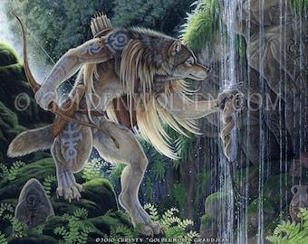 Anthro Wolf Werewolf Hunter at Spring Print