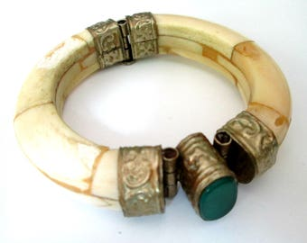 1970s Boho Tribal Bracelet // Indian Bone Jade Agate Hinged Bangle