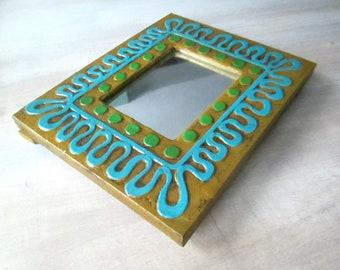 Mod Wooden Frame Vanity Mirror // 1960s 1970s Home Decor