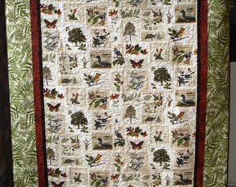 Sights & Sounds of Minnesota Twin Lap Quilt Panel with Ferns