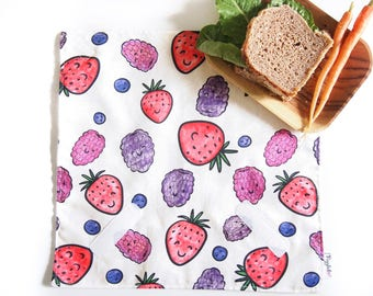 Sandwich Wrap with Food-Safe Nylon Lining - Happy Berries (Organic Cotton)