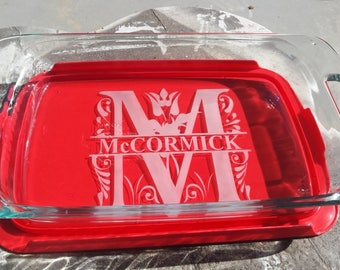 Personalized Casserole Baking Dish with Lid, Pyrex dish engraved family name, wedding gift, church social, wedding established date