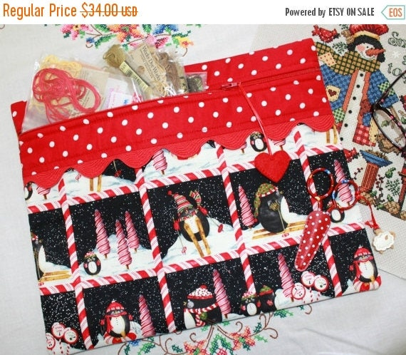 SALE Peppermint Penguin Cross Stitch, Sewing, Embroidery Project Bag