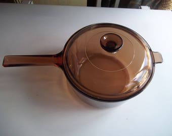 2.5 Amber Liter Visions Corning Ware Pan USA with Lid