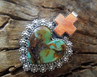 Sacred Cross Sacred Heart Sterling Pendant -  Matrix Kingman Turquoise and Orange Spiny Oyster - Cross Heart Charm Necklace
