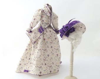 MINIATURE Dollhouse 1/12 th Scale Ladies Hand Printed Dressed Manikin and Matching Picture Hat