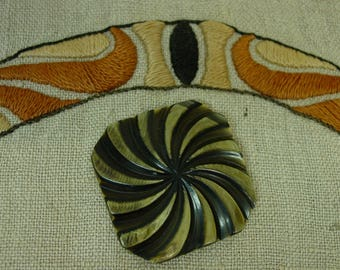 Vintage Antique Celluloid Button, Large Square Fabulous Whirling Spirals 2""