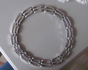 Silver Modernist Necklace, Triple Link Choker, Vintage Costume Jewelry