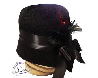 1920' style cloche hat  made in black velvet fur felt, cloche hat, felt hat, women felt hat, vintage hat, black felt hat