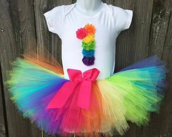 Rainbow Tutu Birthday Outfit and Matching Headband | Bright Rainbow Birthday Party Dress | First, Second, or Third Birthday