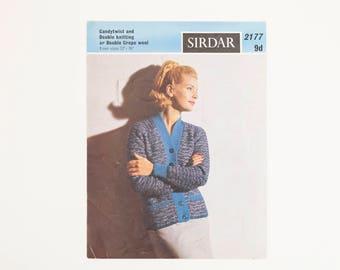 Sirdar Candytwist Ladies' Jacket / Cardigan Vintage Knitting Pattern, 1960s Knitting Pattern