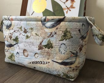 Fabric Basket w/ Bird motif- feathers and eggs w/ antique french writing/ blue lining/ storage/ gift basket/ knitting basket/ craft storage