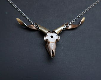Watch Parts Goat Skull Necklace by A Mechanical Mind Macabre Clockwork Steampunk Sculpture Assemblage