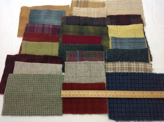Holiday Colors Wool Bundle, 24 pieces, for Applique and Craft projects, W394, Country Primitives, Winter Colors, Textures, Plaids