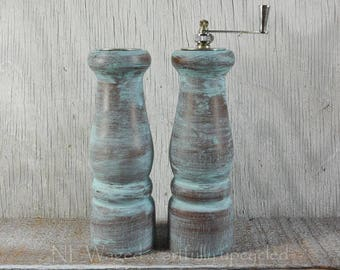 Shabby chic Salt and pepper grinder, painted and distressed sky blue, salt shaker and pepper mill